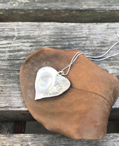 silver Handmade Heart finger print pendant with chain